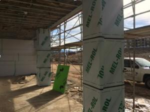 Waterproofing installed at exterior columns