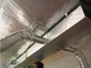 Fiberglass insulation with FSK (foil skrim kraft) installed.